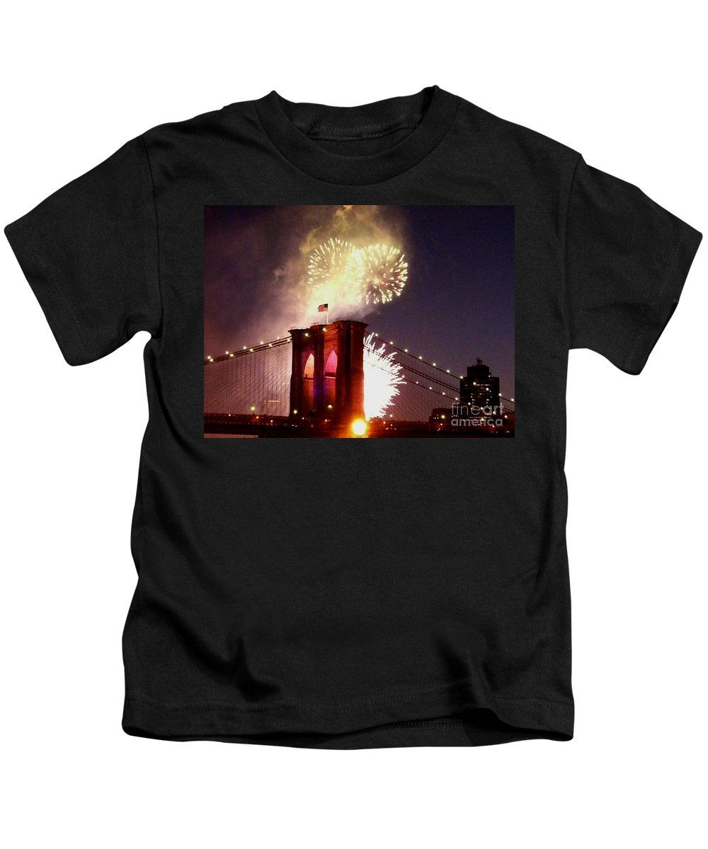 Brooklyn-bridge Kids T-Shirt featuring the photograph Brooklyn Bridge Celebration by Kendall Eutemey