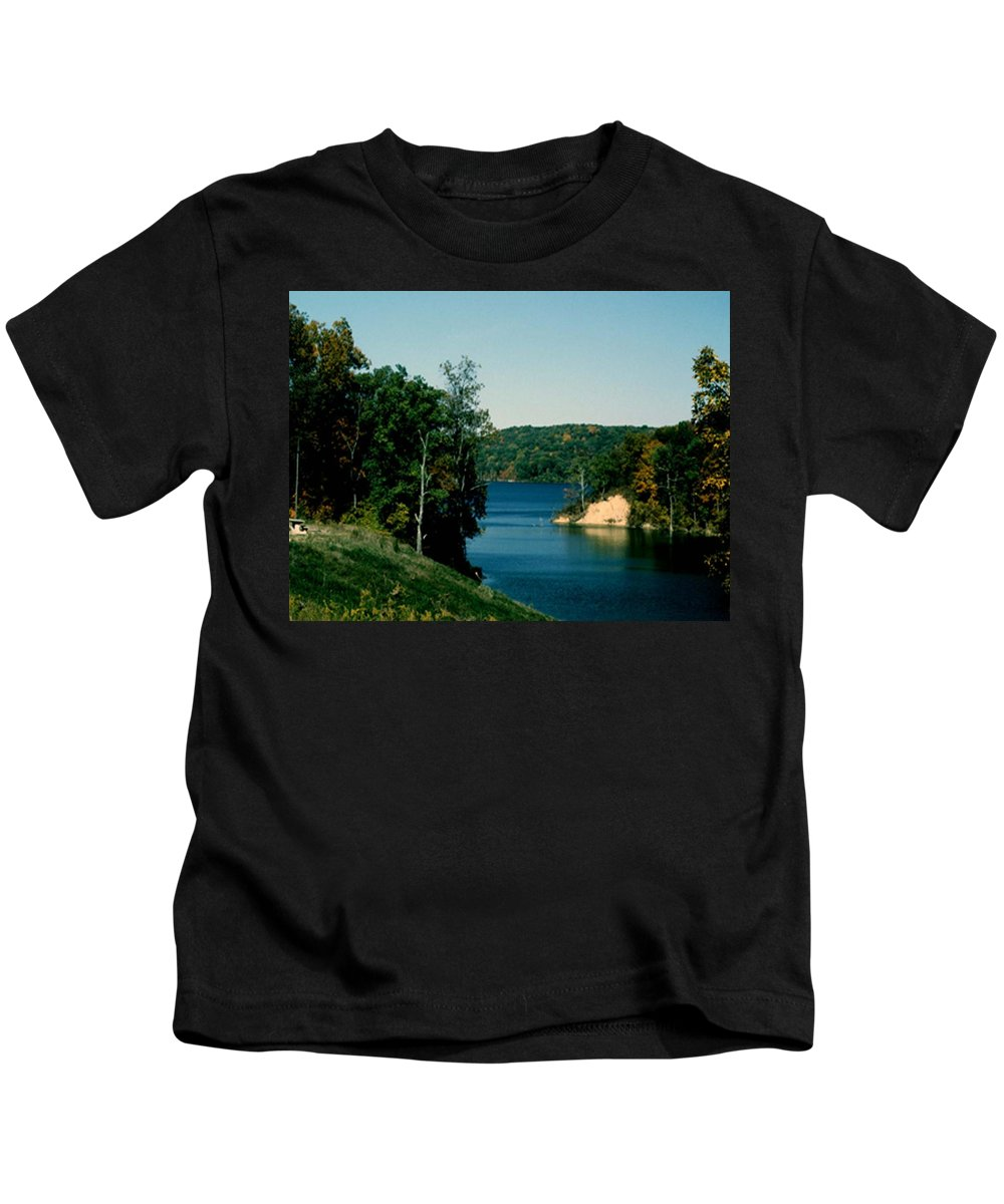 Brookville Indiana Kids T-Shirt featuring the photograph Brookville Lake Brookville Indiana by Gary Wonning