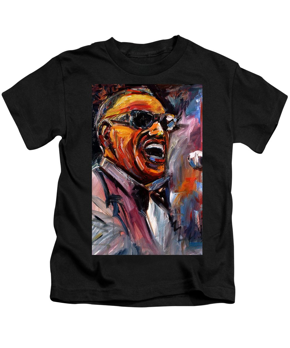 Jazz Art Kids T-Shirt featuring the painting Brother Ray by Debra Hurd