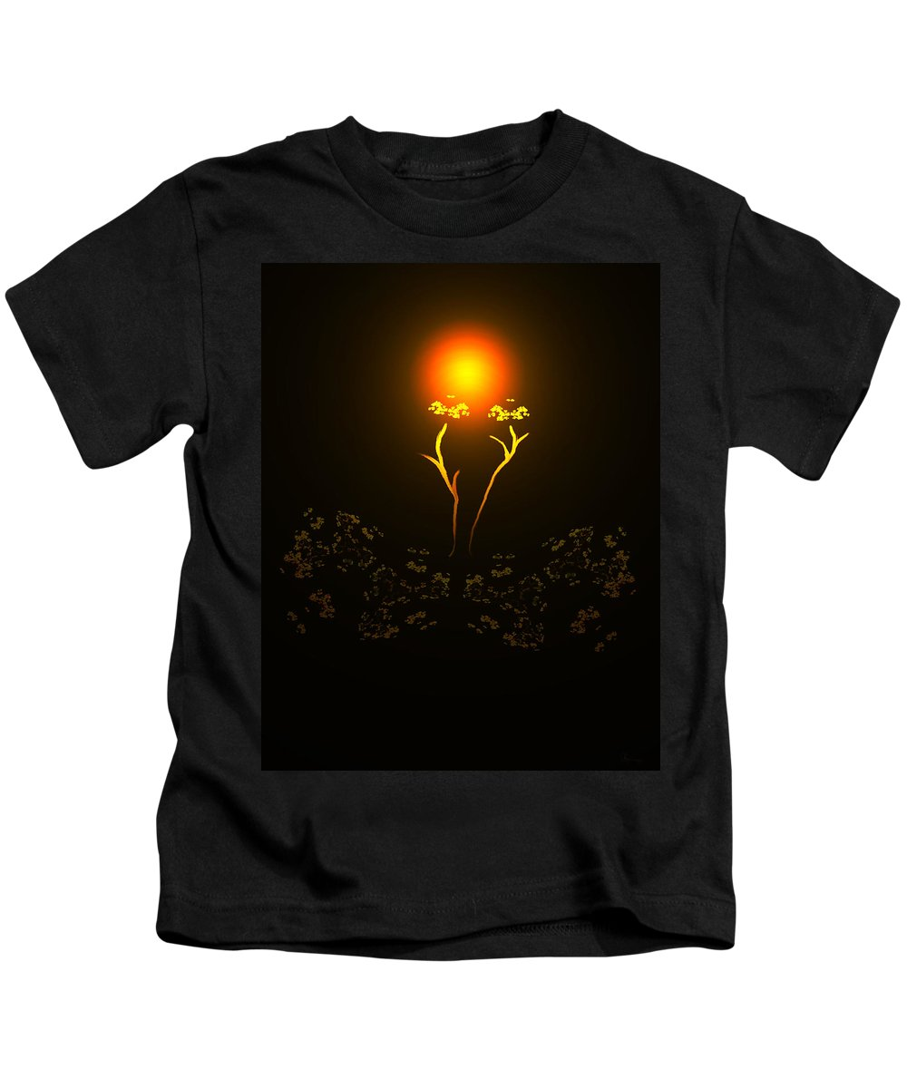 Abstract Digital Art Colorful Print Original Saskatchewan Artist Gold Yellow Brown Orange Collectors Gallery Images Flowers Plants Life Kids T-Shirt featuring the digital art Brown Eyed Susan by Andrea Lawrence