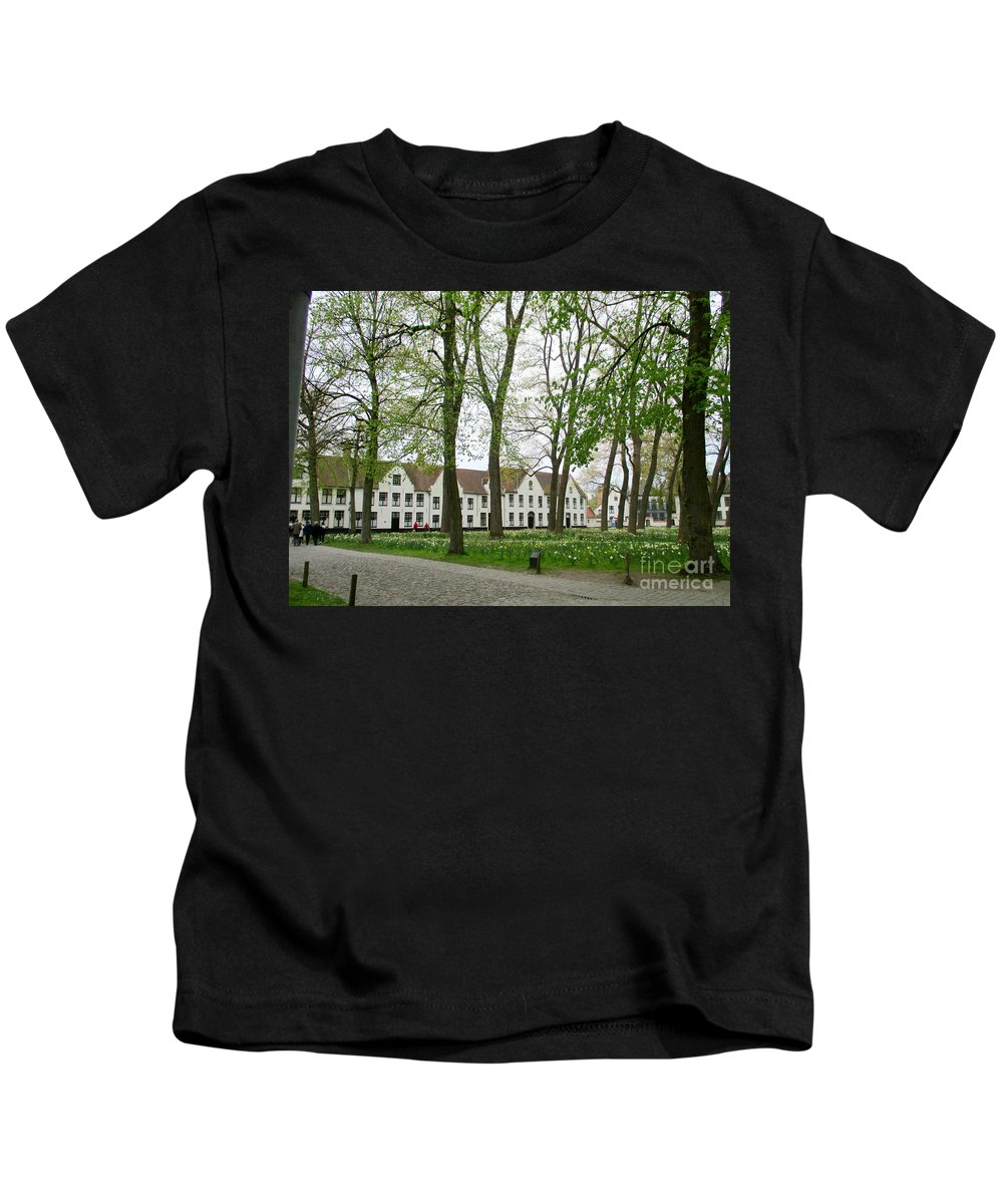 Bruges Kids T-Shirt featuring the photograph Bruges Begijnhof 1 by Randall Weidner