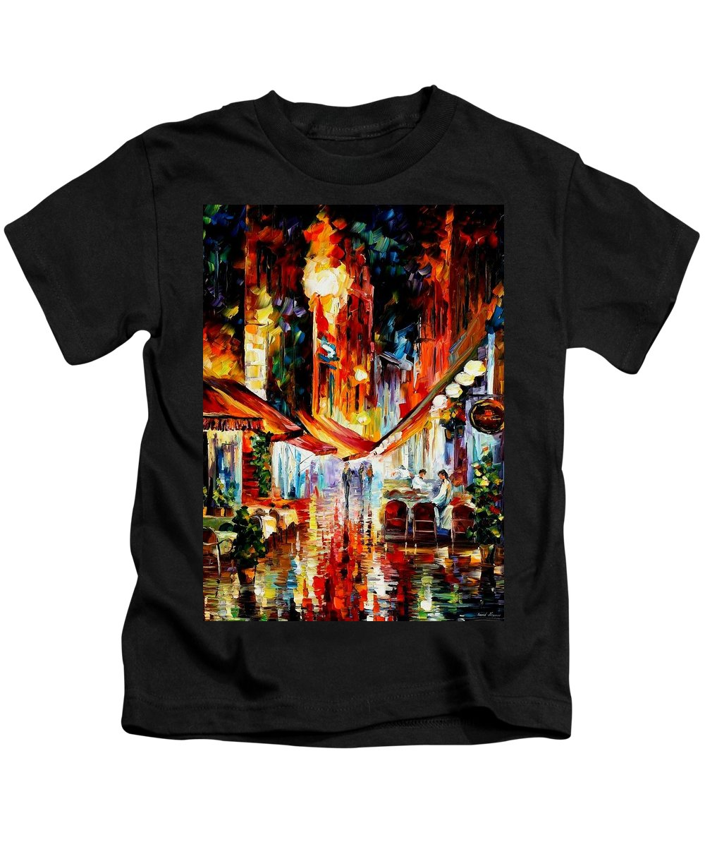 Afremov Kids T-Shirt featuring the painting Brussels - Before The Night Starts by Leonid Afremov