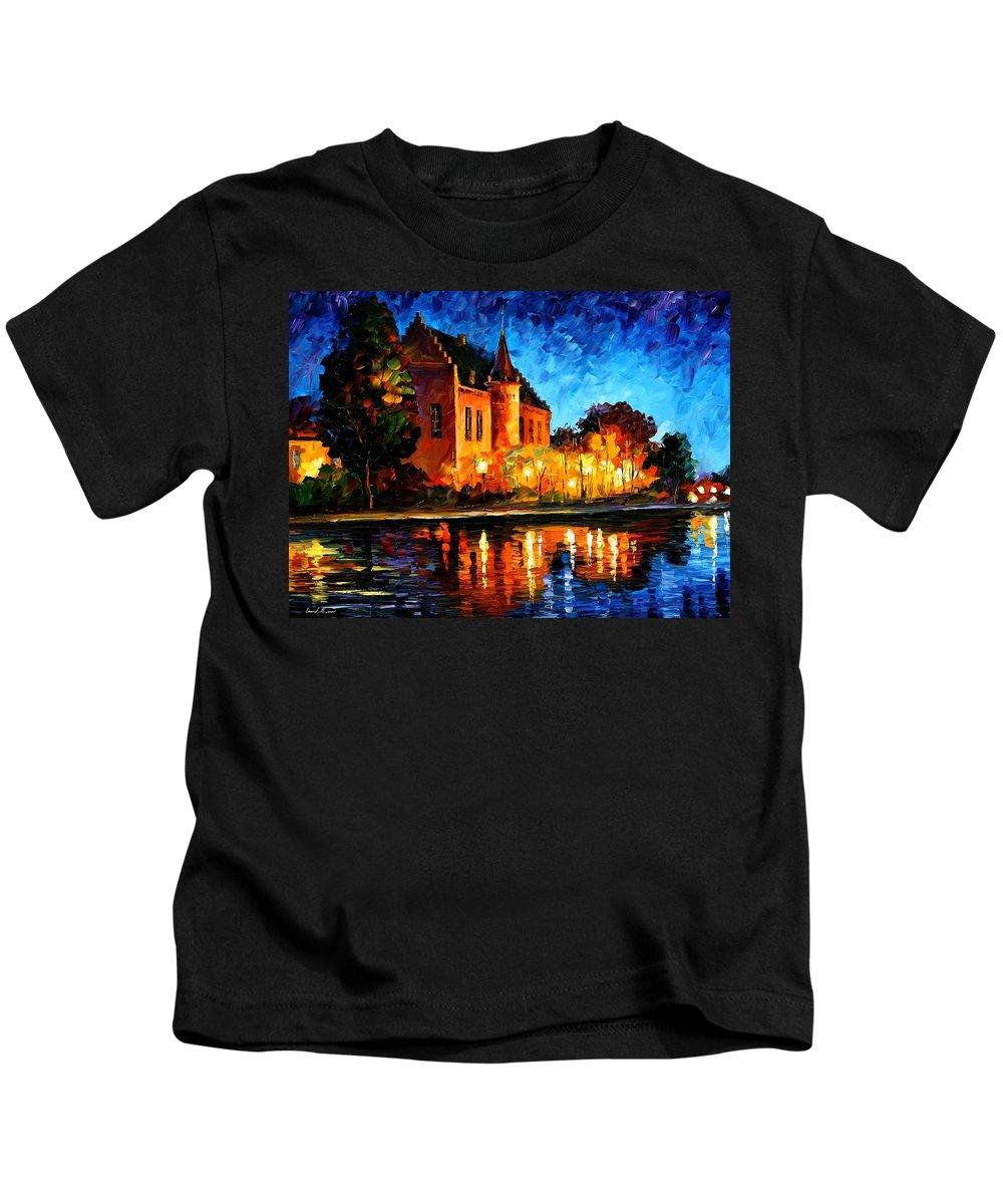 Afremov Kids T-Shirt featuring the painting Brussels - Castle Saventem by Leonid Afremov