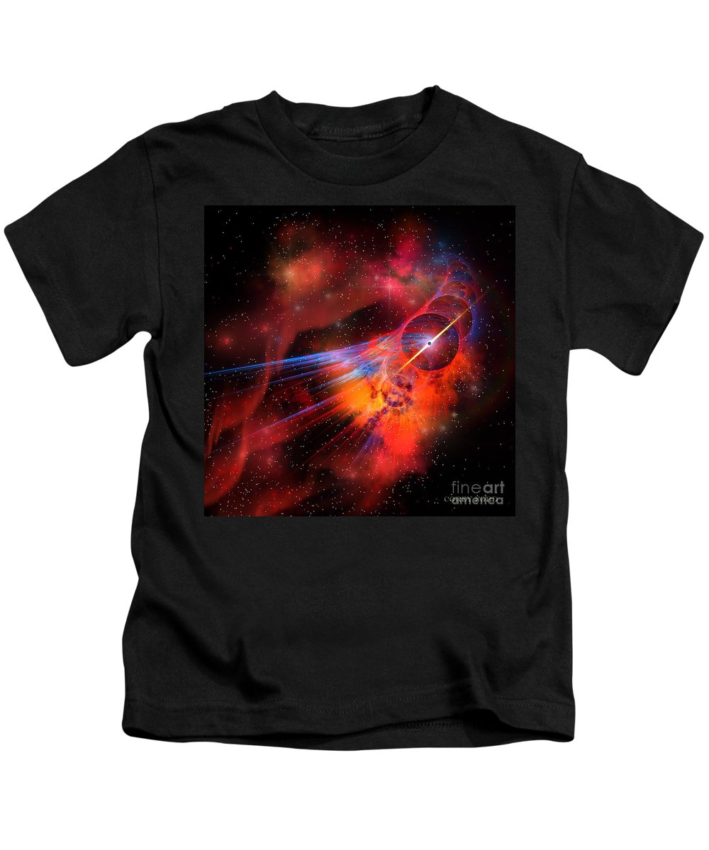 Science Fiction Kids T-Shirt featuring the painting Bubble Nebula by Corey Ford