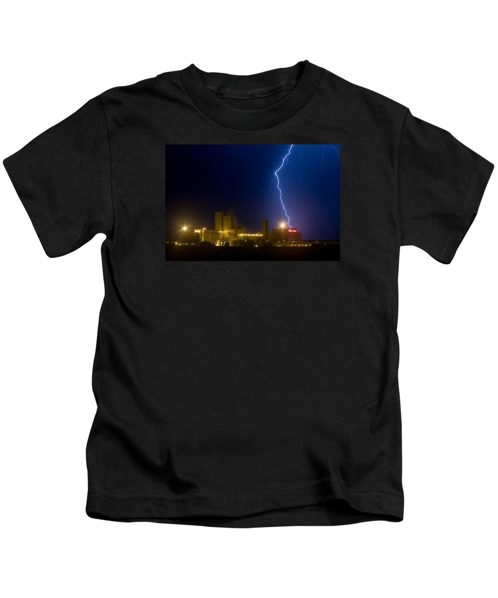Lightning Kids T-Shirt featuring the photograph Bud Light Ning by James BO Insogna