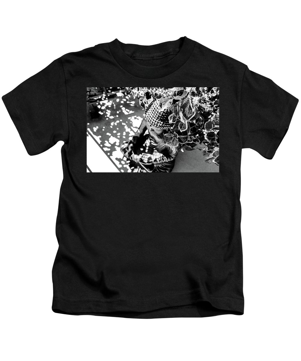 Buddha Kids T-Shirt featuring the photograph Buddha In Black And White by Alexandra Nielsen