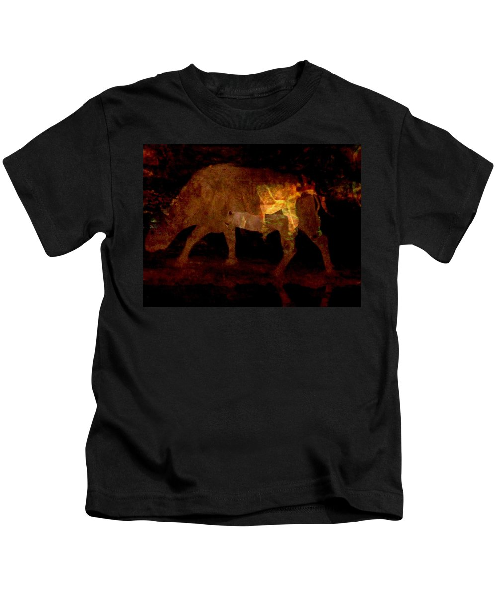 Mixed Media; Photography; Video Art; Wildlife; Buffalo;arlene Rabinowitz Kids T-Shirt featuring the photograph Buffalo's Bluff Series 1 by Arlene Rabinowitz