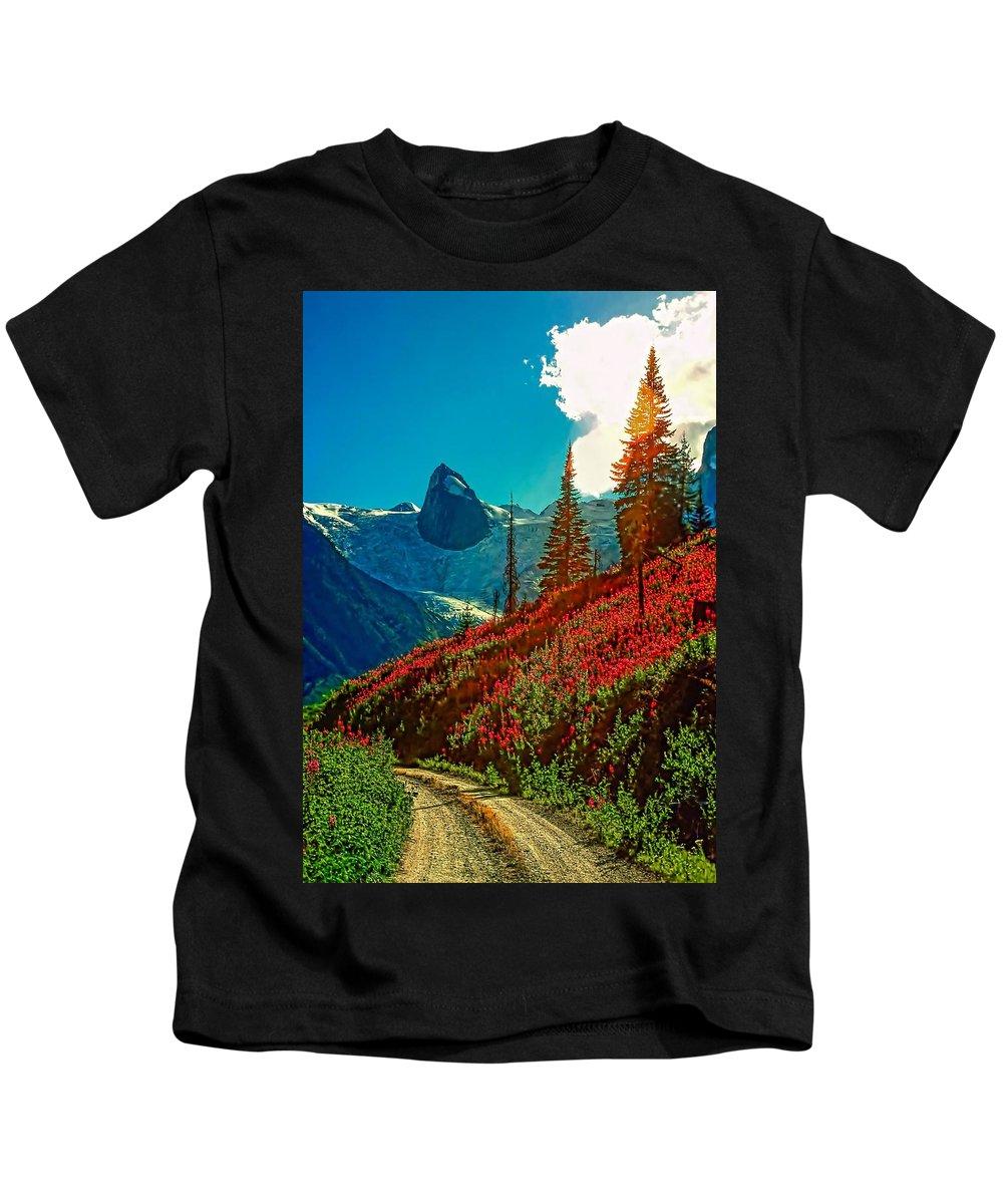Mountains Kids T-Shirt featuring the photograph Bugaboos Evening by Steve Harrington