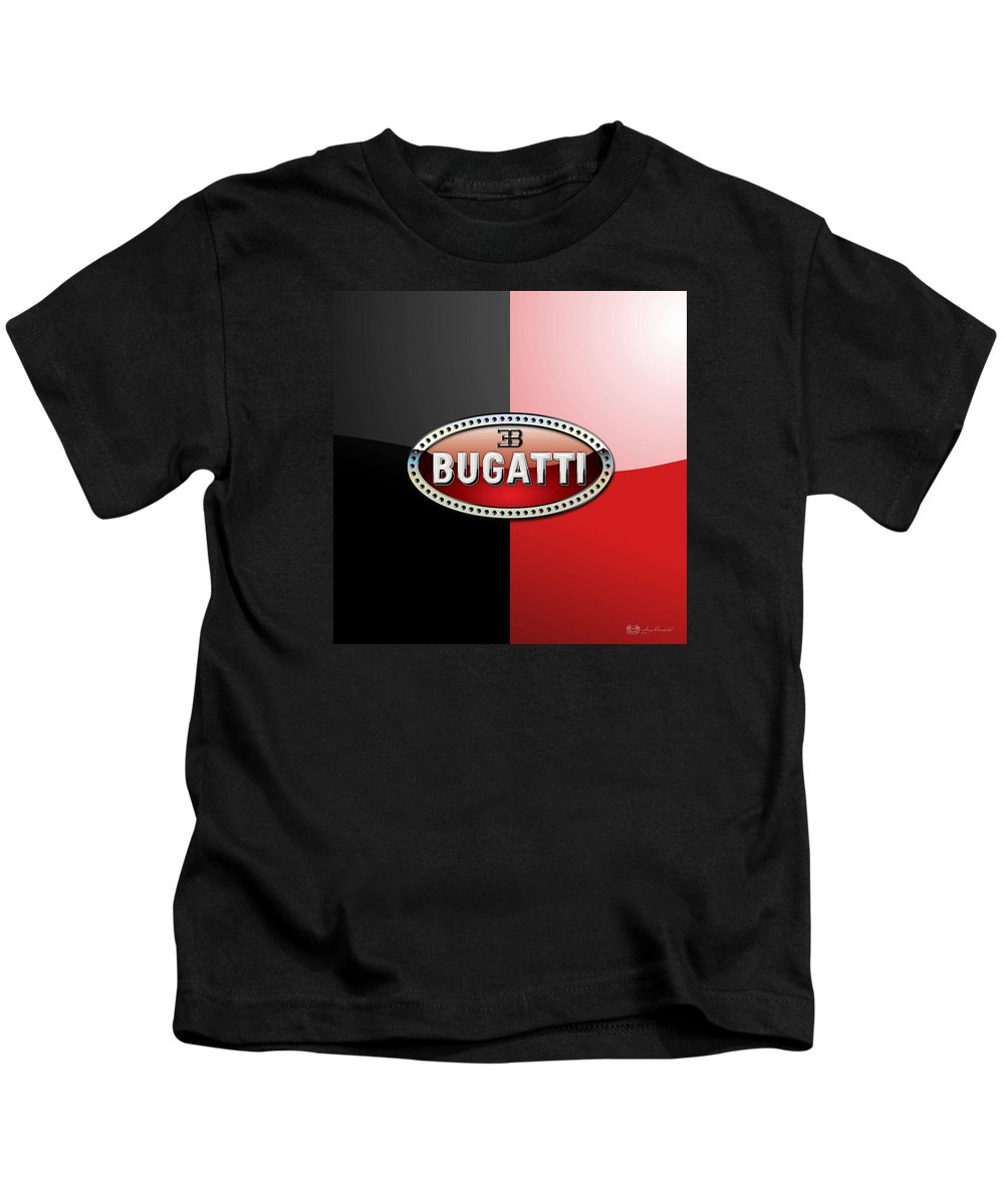 Wheels Of Fortune By Serge Averbukh Kids T-Shirt featuring the photograph Bugatti 3 D Badge on Red and Black by Serge Averbukh