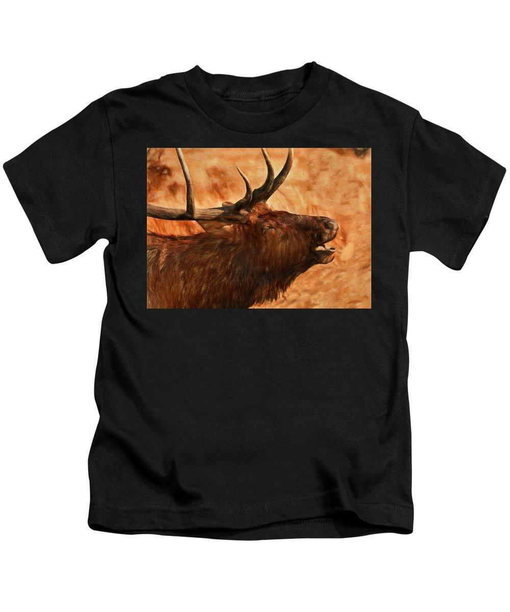 Bugling Bull Elk Autumn Background Kids T-Shirt featuring the painting Bugling Bull Elk Autumn Background by Dan Sproul