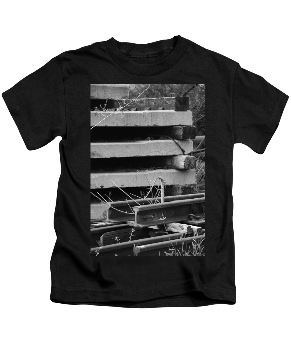 Black And White Kids T-Shirt featuring the photograph Building Tracks by Rob Hans