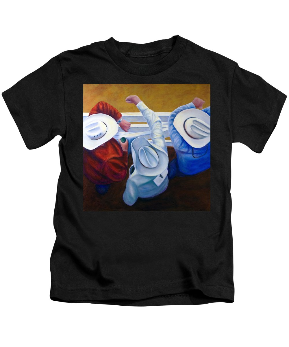 Western Kids T-Shirt featuring the painting Bull Chute by Shannon Grissom