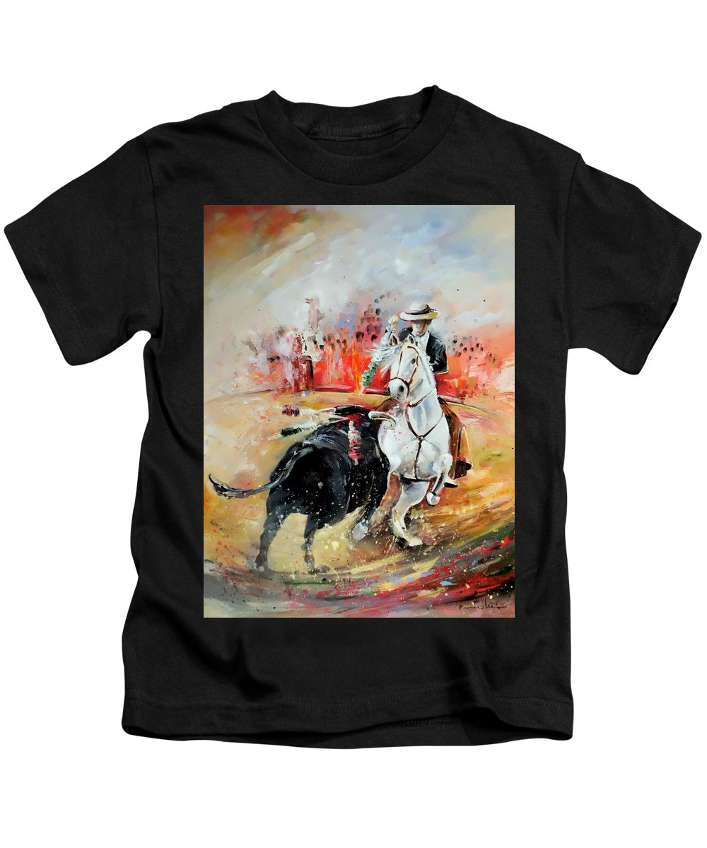 Toros Kids T-Shirt featuring the painting Bullfight 3 by Miki De Goodaboom