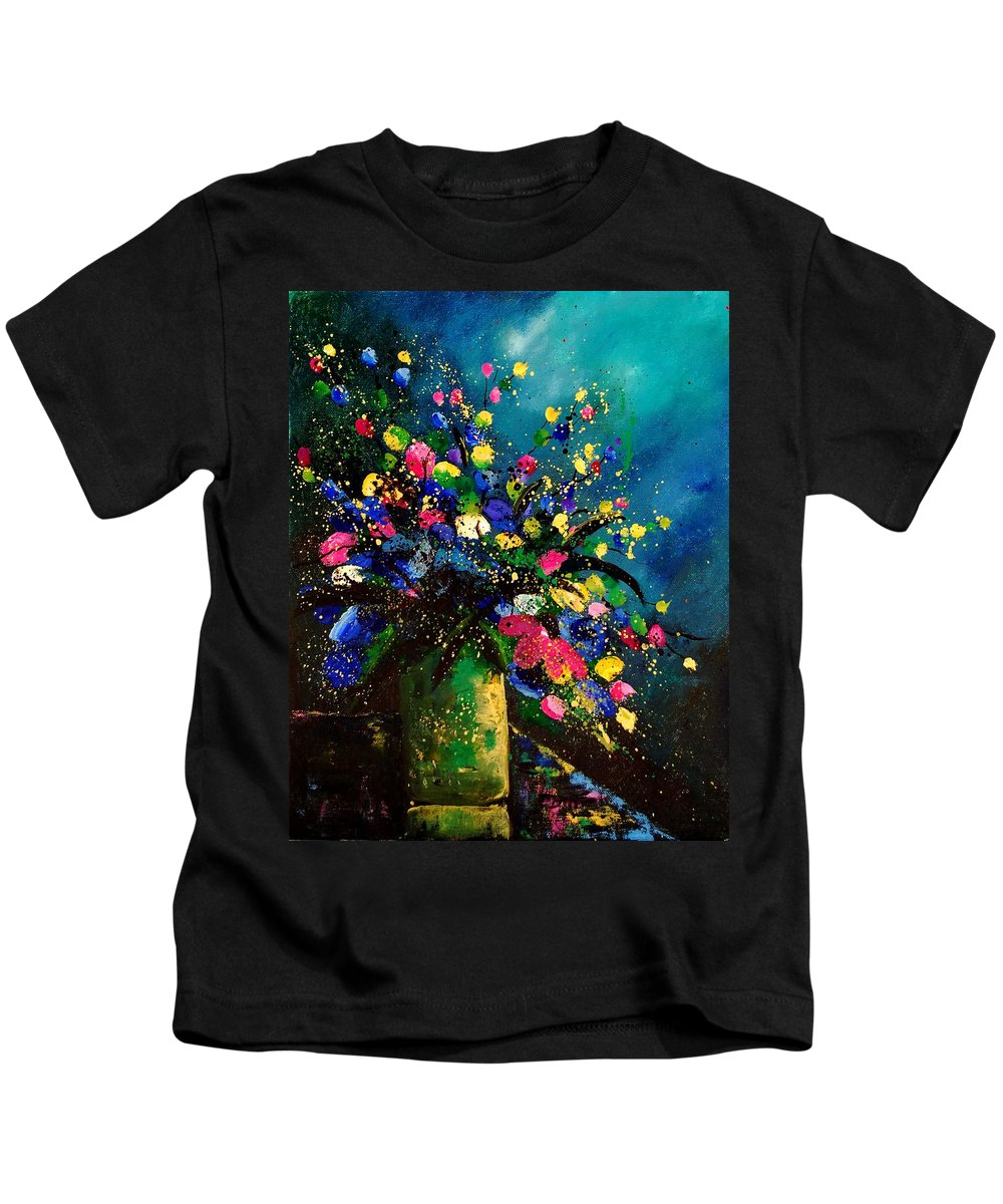 Poppies Kids T-Shirt featuring the painting Bunch 45 by Pol Ledent