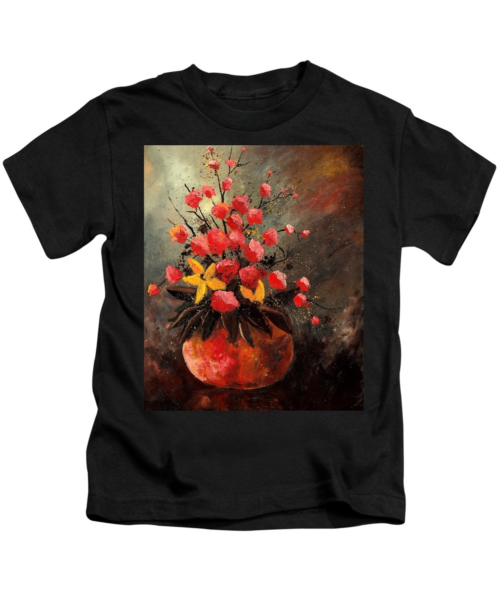 Flowers Kids T-Shirt featuring the painting Bunch 569060 by Pol Ledent