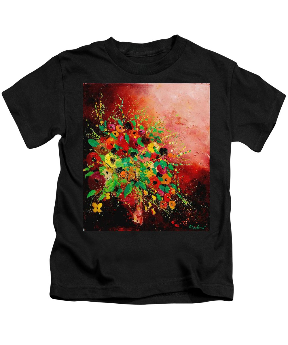 Flowers Kids T-Shirt featuring the painting Bunch Of Flowers 0507 by Pol Ledent