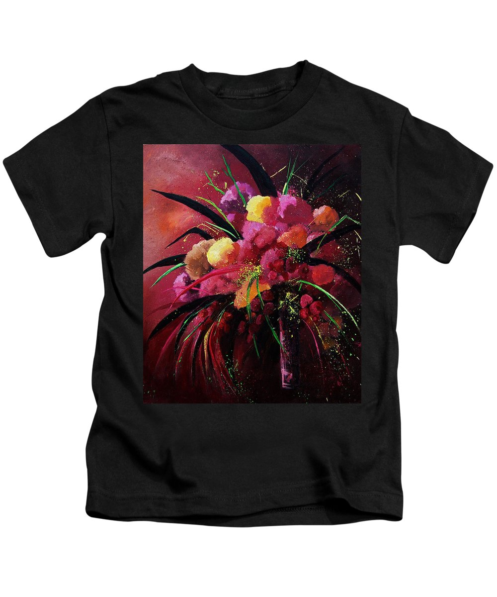Flowers Kids T-Shirt featuring the painting Bunch Of Red Flowers by Pol Ledent