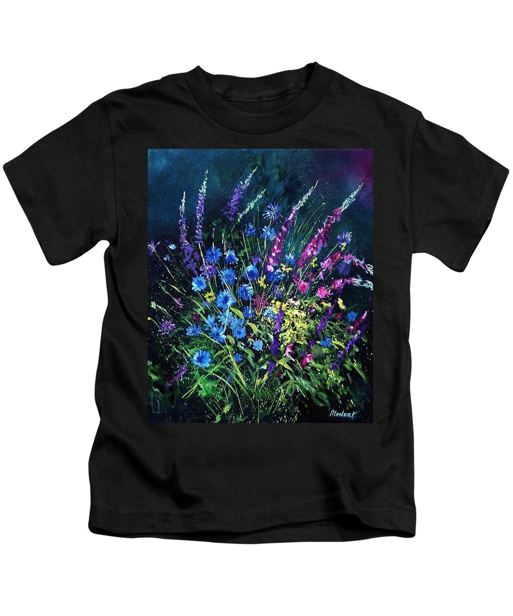 Poppies Kids T-Shirt featuring the painting Bunch Of Wild Flowers by Pol Ledent