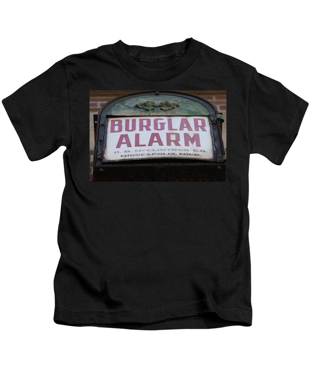 Burglar Alarm Kids T-Shirt featuring the photograph Burglar Alarm by Lauri Novak