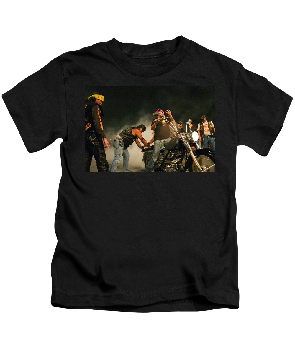 Biker Kids T-Shirt featuring the photograph Burn Out by Skip Hunt