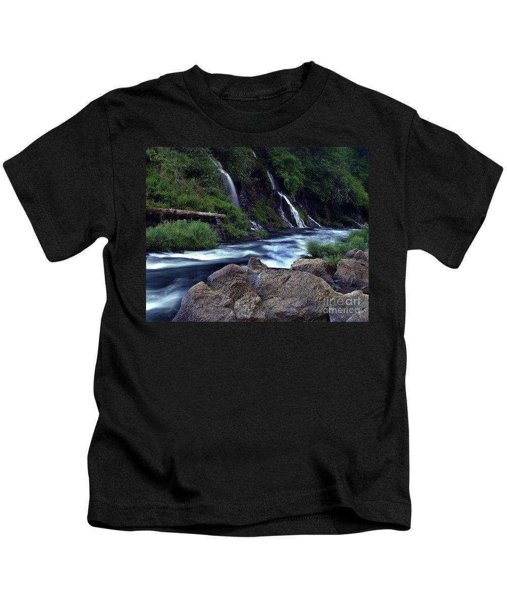River Kids T-Shirt featuring the photograph Burney Falls Creek by Peter Piatt