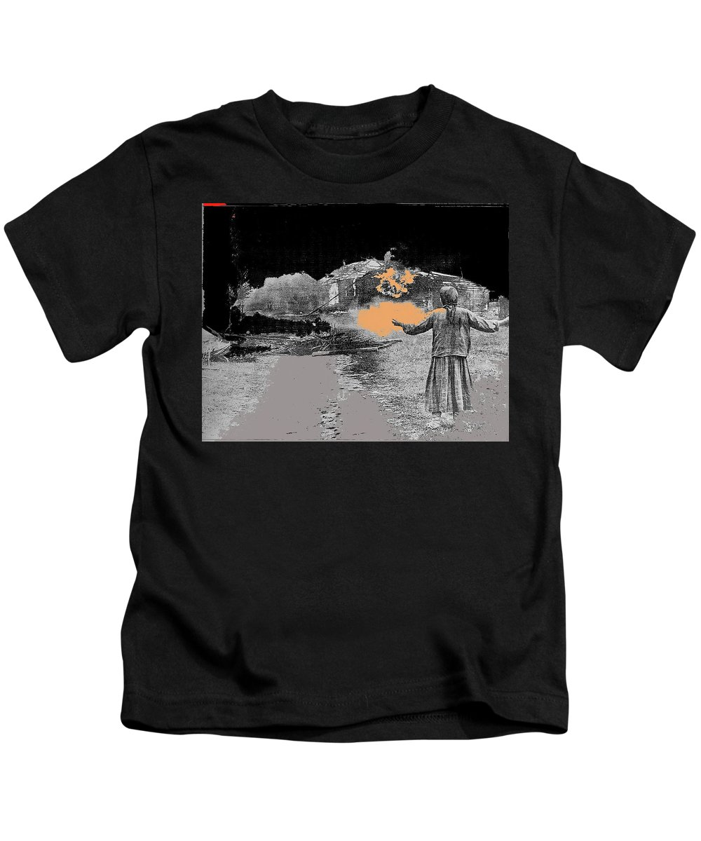 Burning House Destroyed By The Ss Soviet Union Number Two 1941 Color Added 2016 Kids T-Shirt featuring the photograph Burning House Destroyed By The Ss Soviet Union Number Two 1941 Color Added 2016 by David Lee Guss