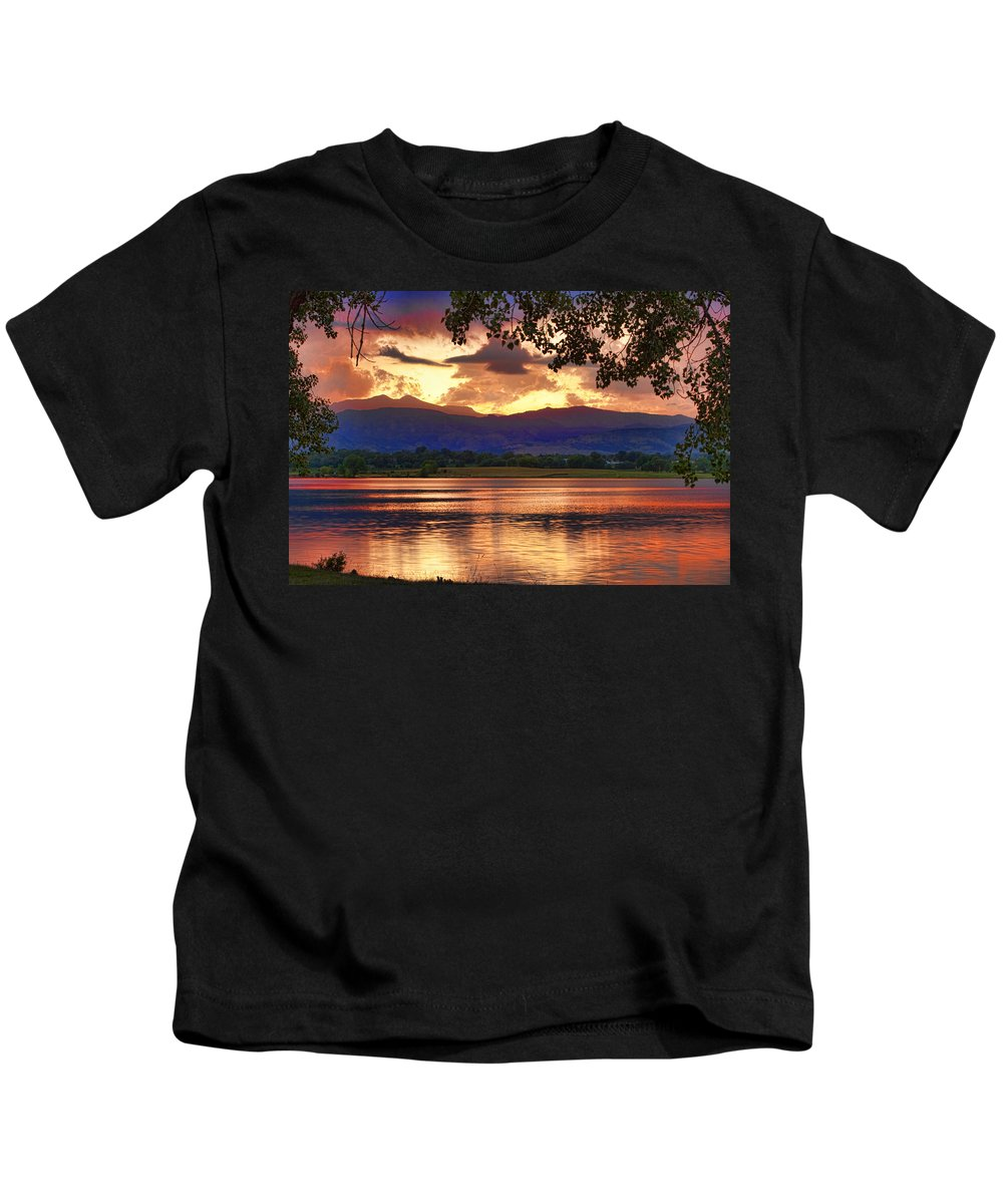 Sunsets Kids T-Shirt featuring the photograph Burning Lake  by James BO Insogna