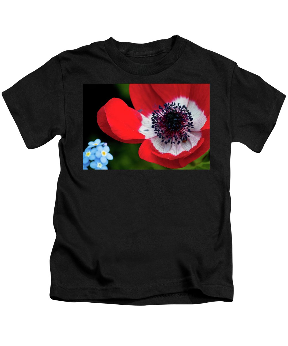 Blue Kids T-Shirt featuring the photograph Burst Of Red by Trish Tritz