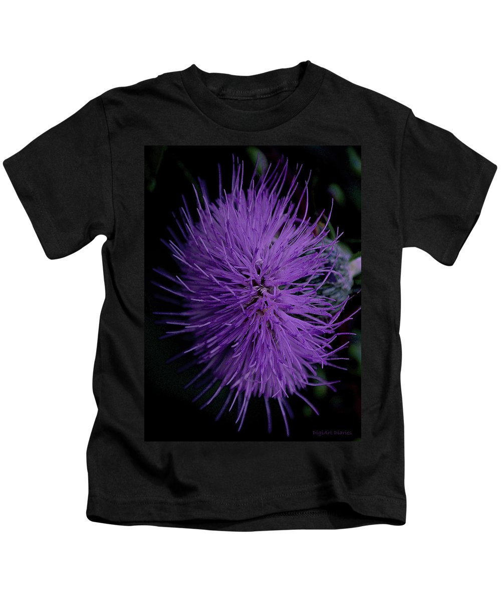 Wildflower Kids T-Shirt featuring the digital art Burst Of Violet by DigiArt Diaries by Vicky B Fuller