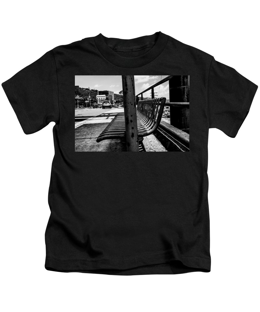 Ciudad De San Salvador Kids T-Shirt featuring the photograph Bus Stop by Totto Ponce