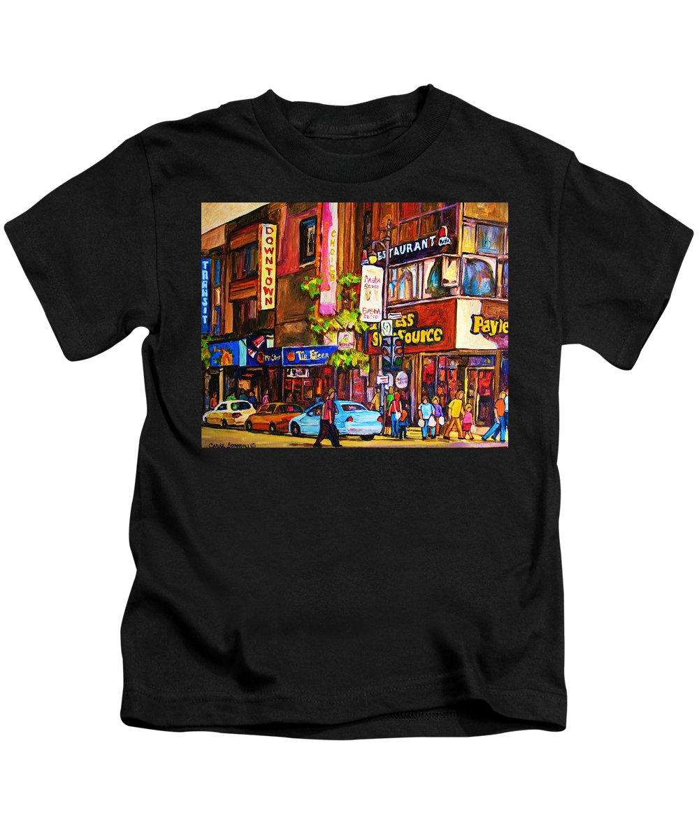 Cityscape Kids T-Shirt featuring the painting Busy Downtown Street by Carole Spandau