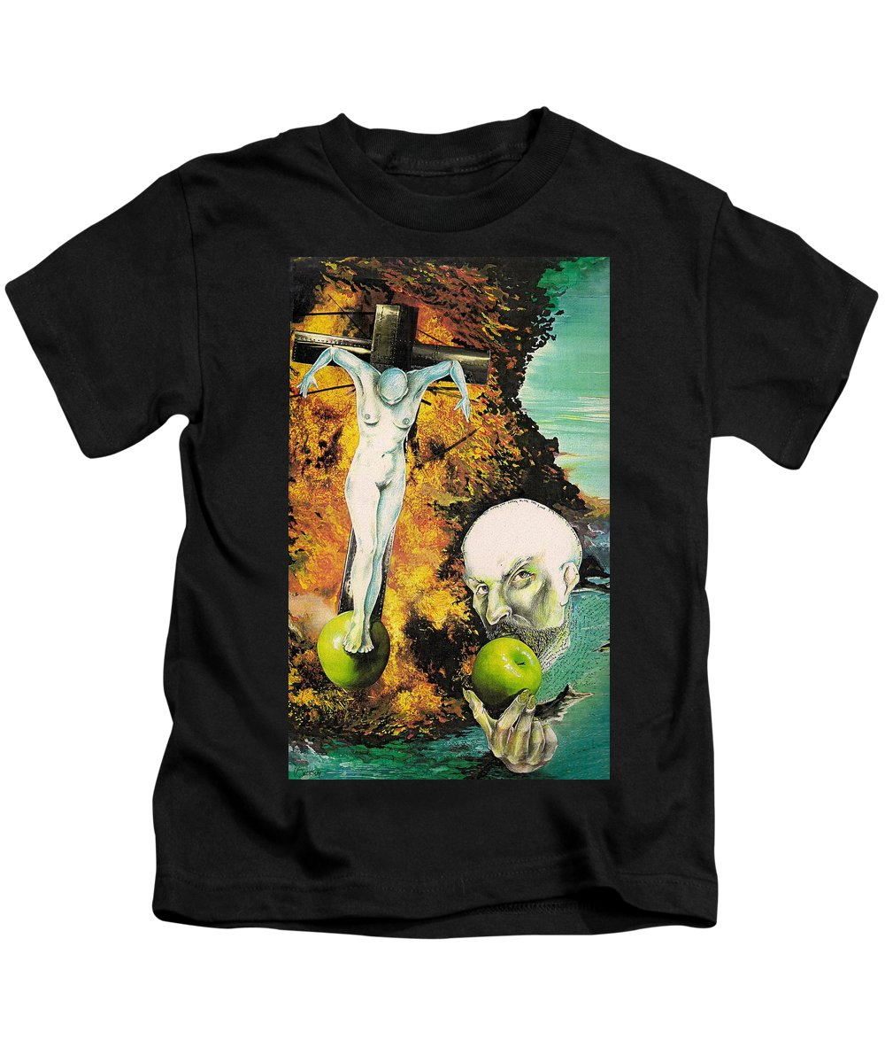 Lust Temptation Crucifix Hell Inferno Heaven Water Woman Sex Lust Apple Fire Kids T-Shirt featuring the mixed media But For Lust... by Veronica Jackson