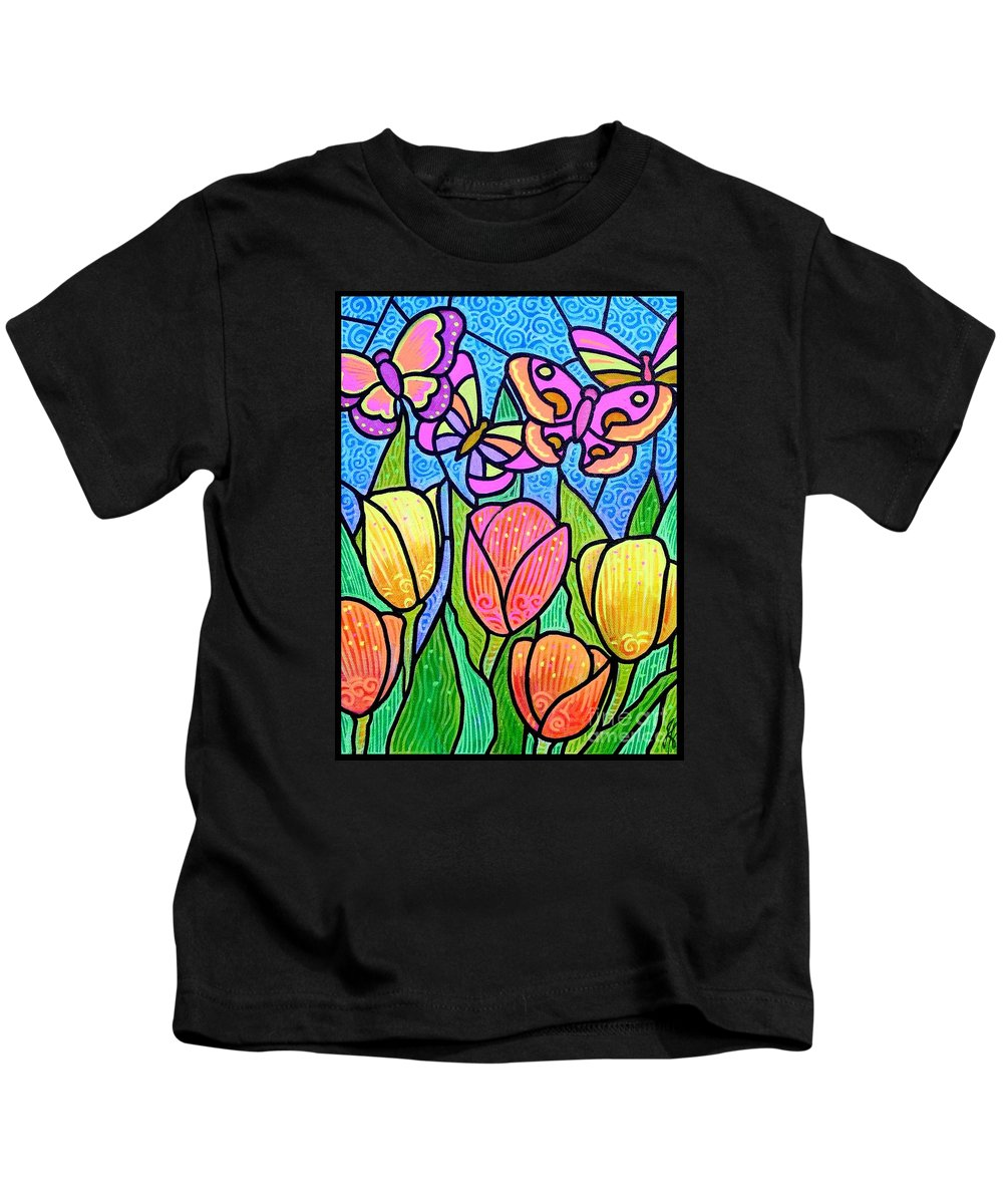 Butterflies Kids T-Shirt featuring the painting Butterflies In The Tulip Garden by Jim Harris