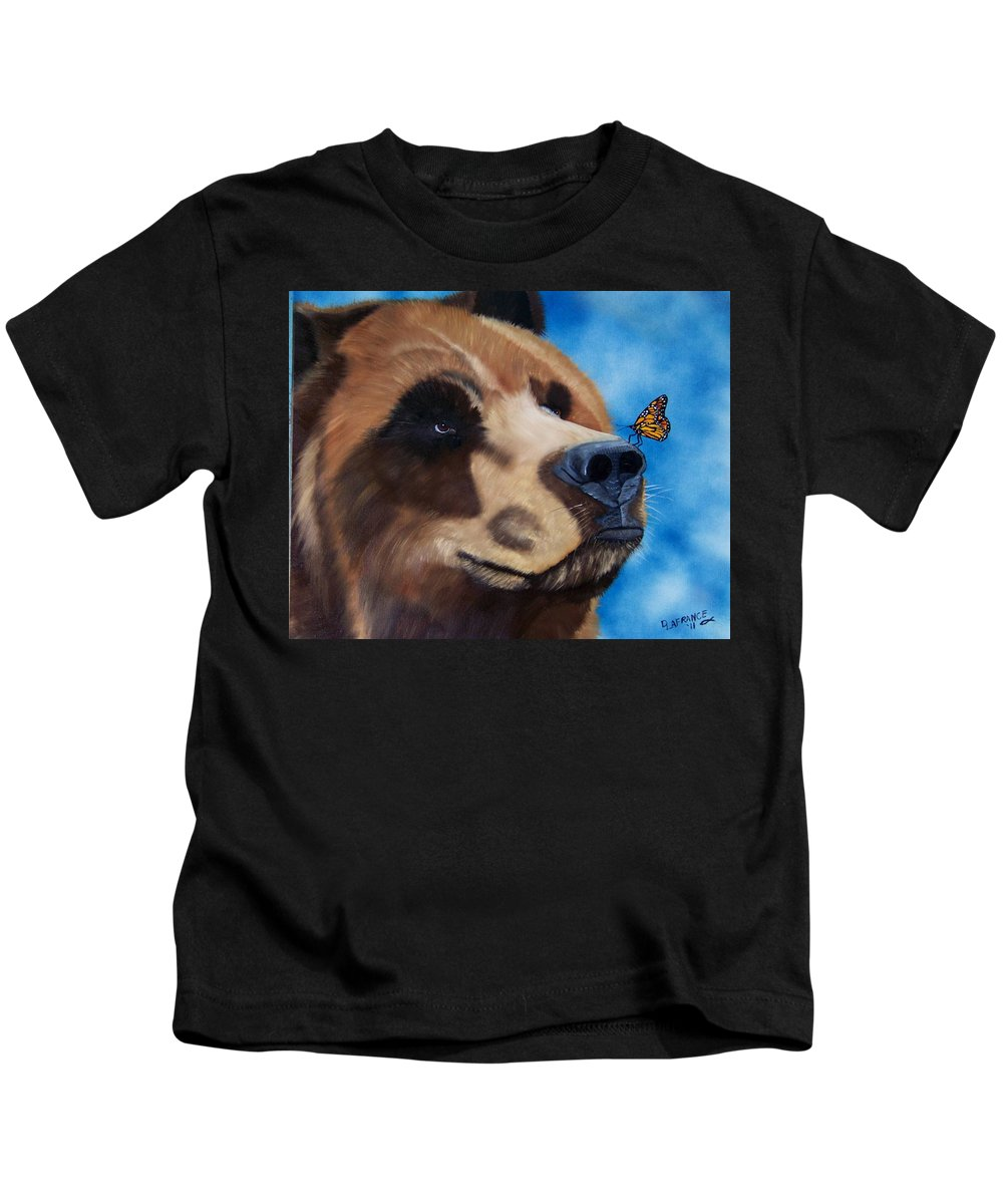 Grizzly Bear Kids T-Shirt featuring the painting Butterfly Kisses by Debbie LaFrance