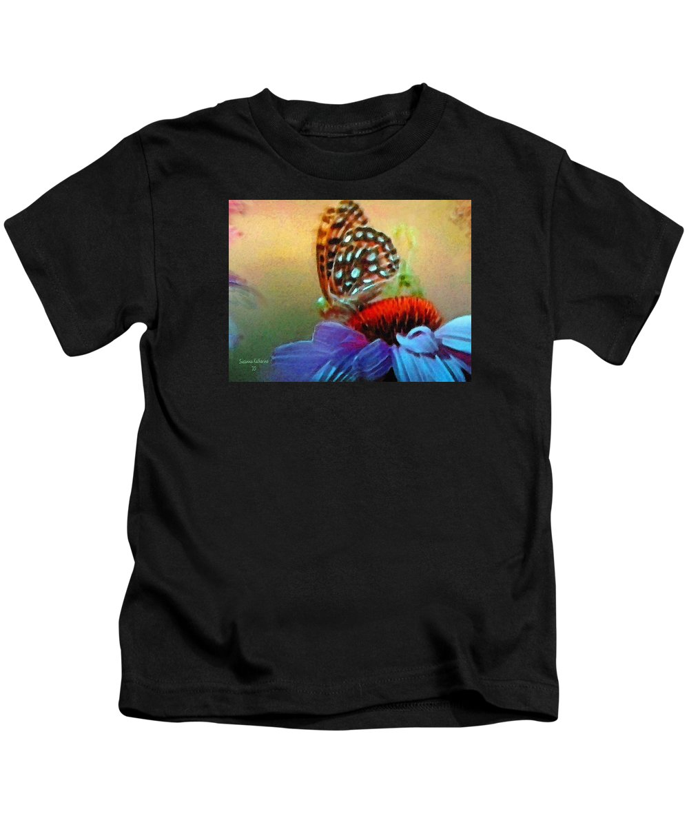 Butterfly Kids T-Shirt featuring the painting Butterfly On A Flower by Susanna Katherine