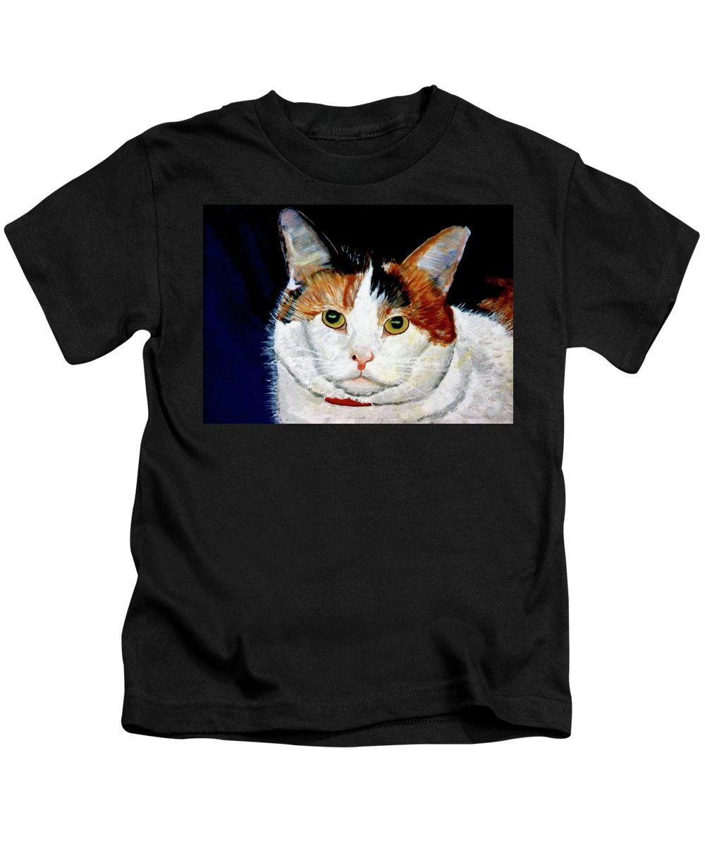 Cat Kids T-Shirt featuring the painting Buttons by Stan Hamilton