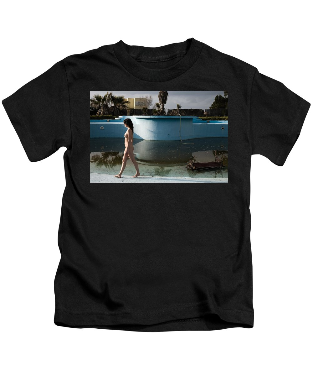 Nudes Kids T-Shirt featuring the photograph By The Old Pool by Olivier De Rycke