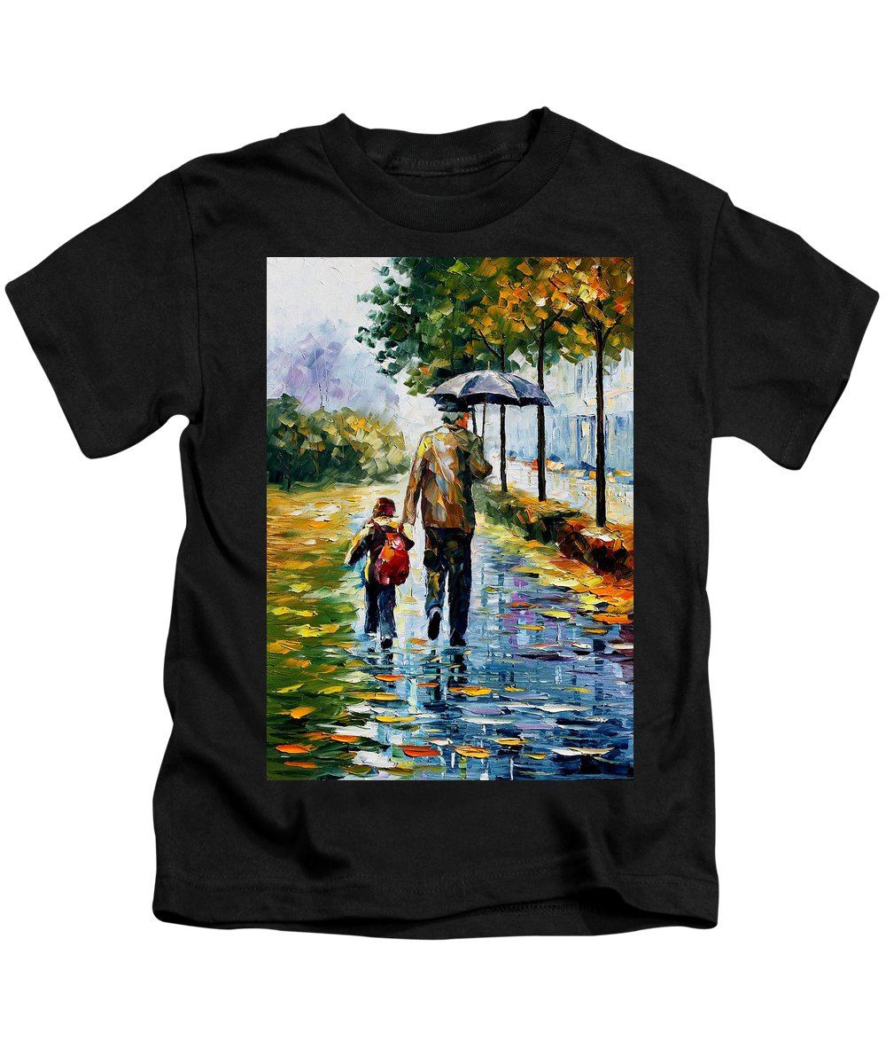 People Kids T-Shirt featuring the painting By The Rain by Leonid Afremov