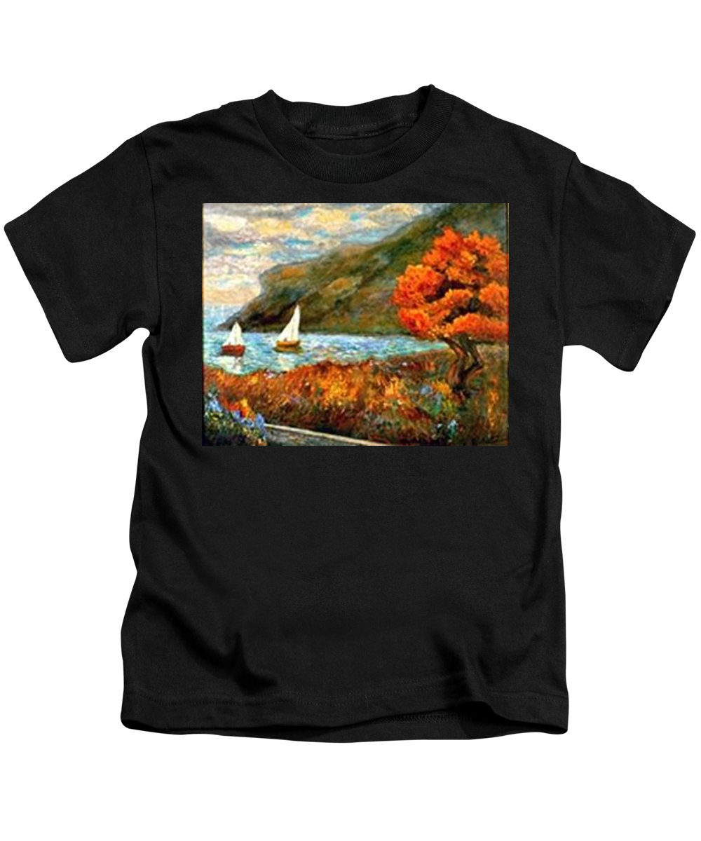 Sea Kids T-Shirt featuring the painting By The Sea by Gail Kirtz