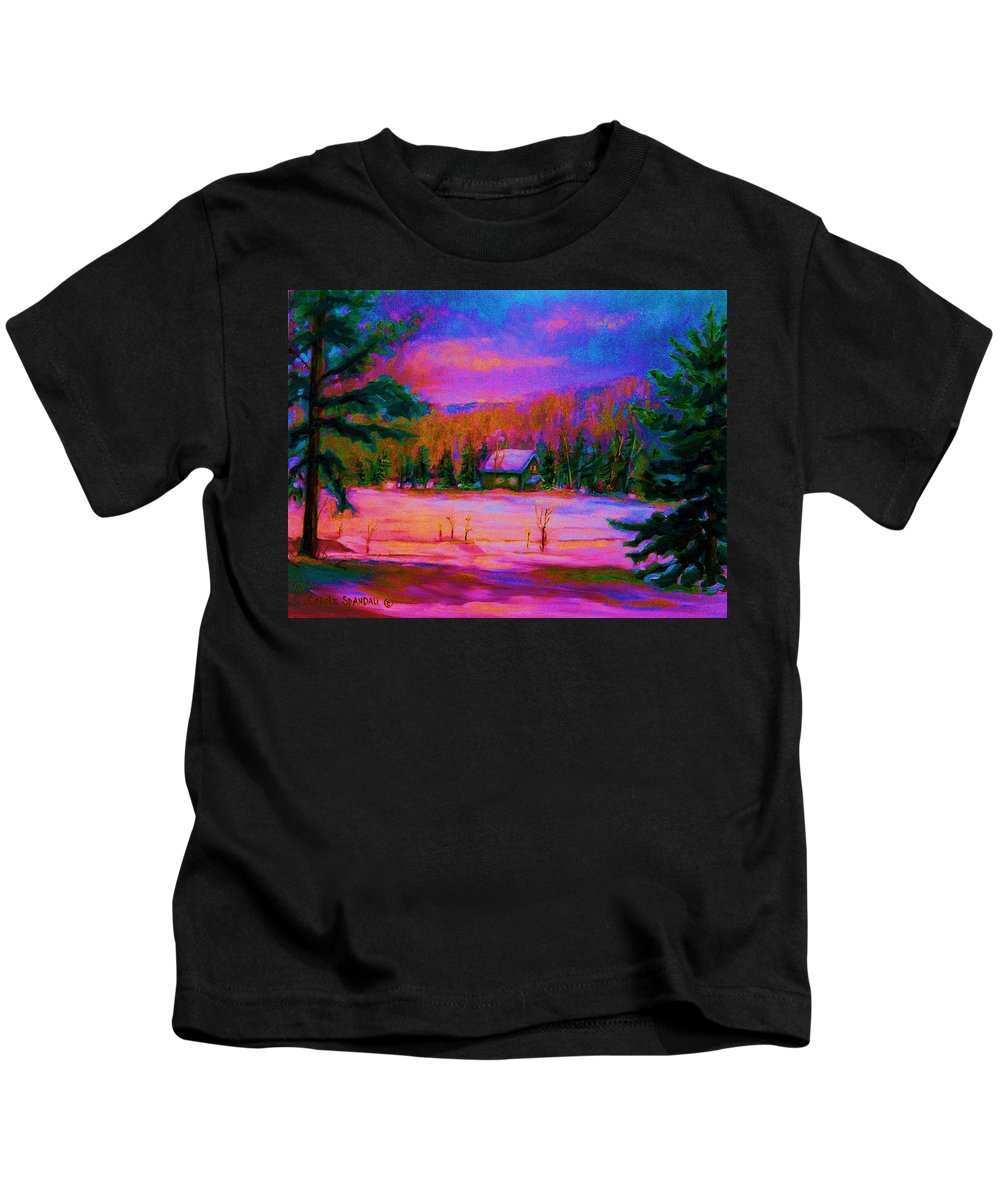 Winterscenes Kids T-Shirt featuring the painting Cabin In The Woods by Carole Spandau
