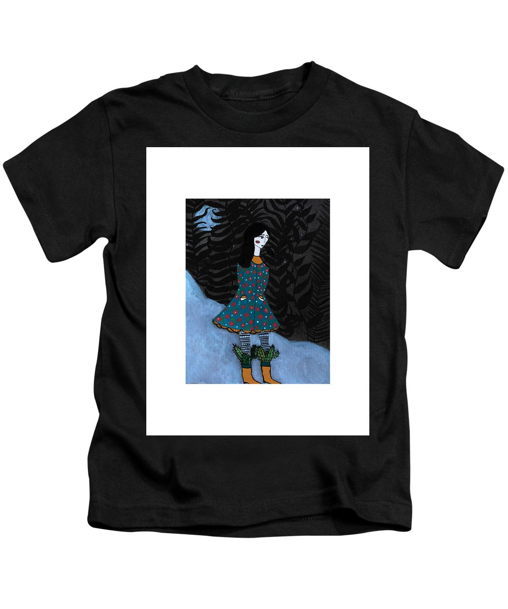 Gouache Kids T-Shirt featuring the painting Cactus by Emily Elliott