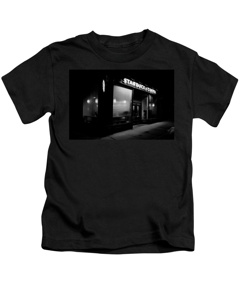 Starbucks Kids T-Shirt featuring the photograph Cafe At Night by Andrew Fare