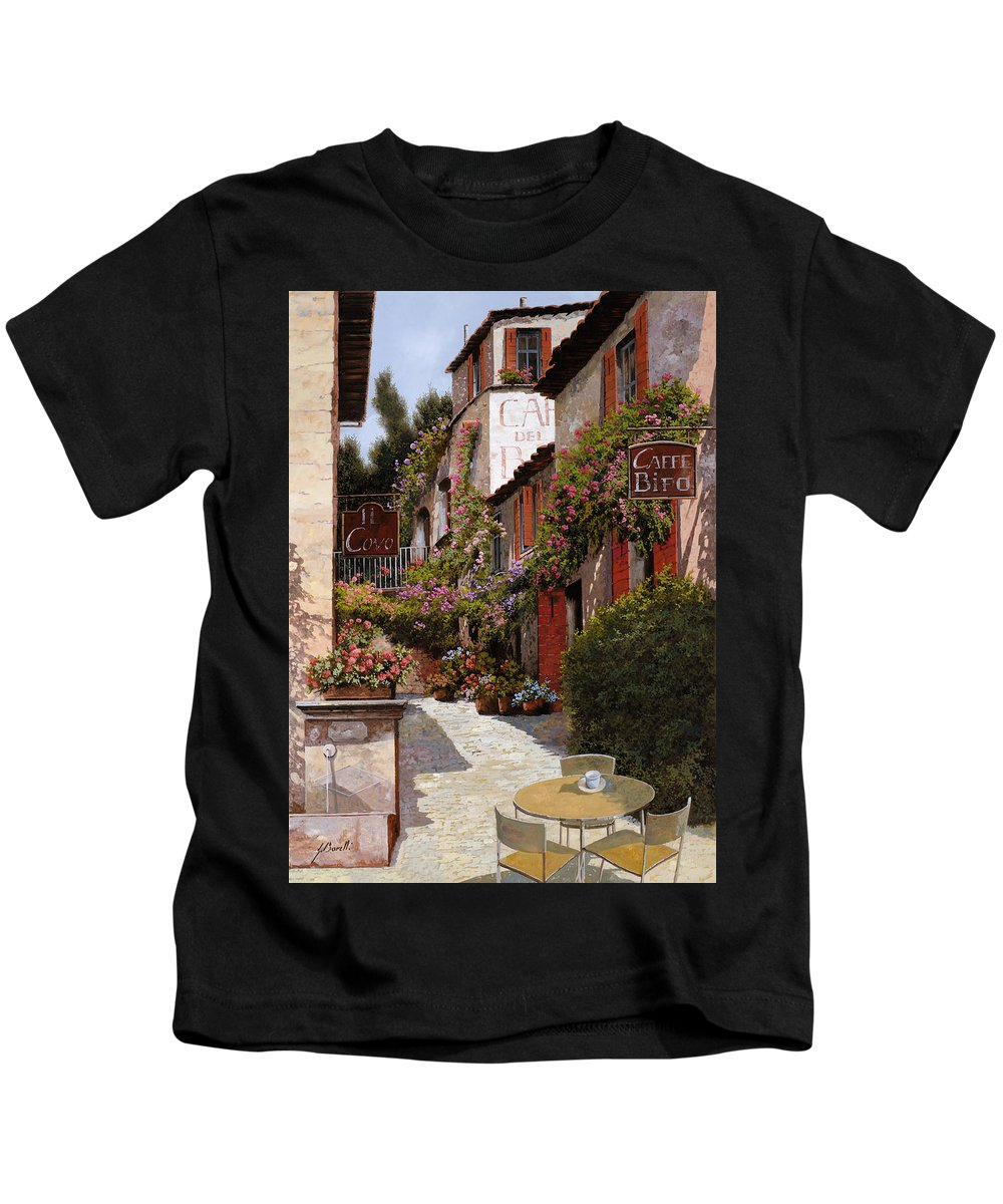 Cafe Kids T-Shirt featuring the painting Cafe Bifo by Guido Borelli