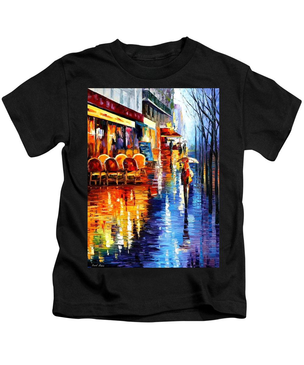 Afremov Kids T-Shirt featuring the painting Cafe In Paris by Leonid Afremov