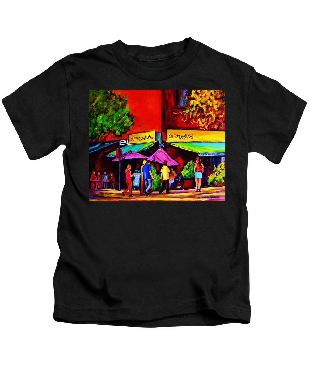 Cafe Scenes Kids T-Shirt featuring the painting Cafe La Moulerie On Bernard by Carole Spandau