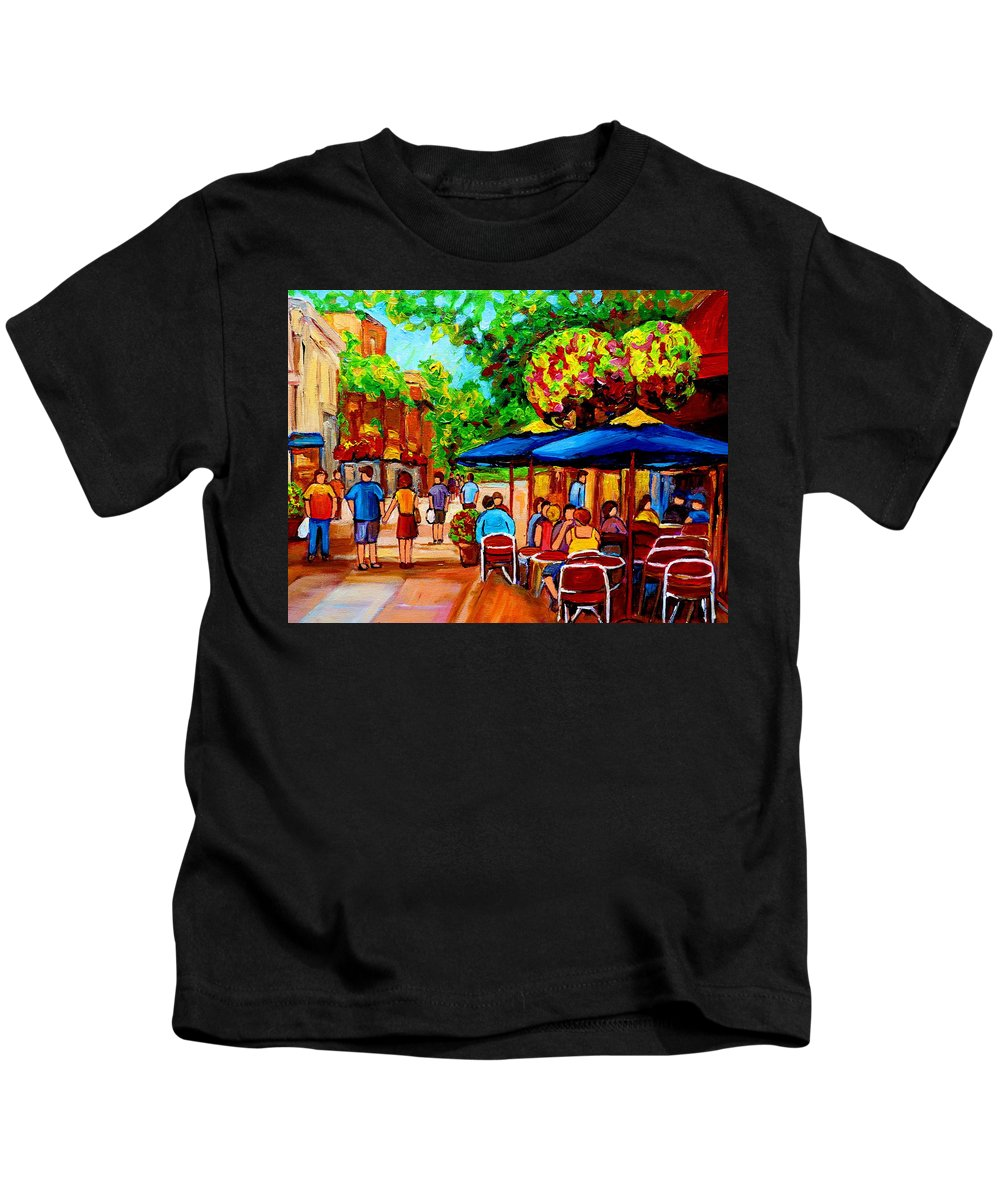 Cafe On Prince Arthur In Montreal Kids T-Shirt featuring the painting Cafe On Prince Arthur In Montreal by Carole Spandau