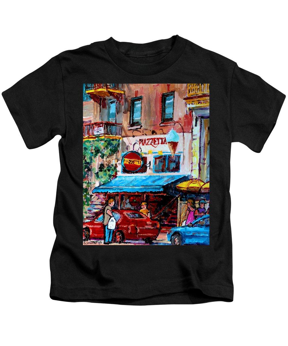 Cafes On St Denis Paris Cafes Kids T-Shirt featuring the painting Cafe Piazzetta St Denis by Carole Spandau