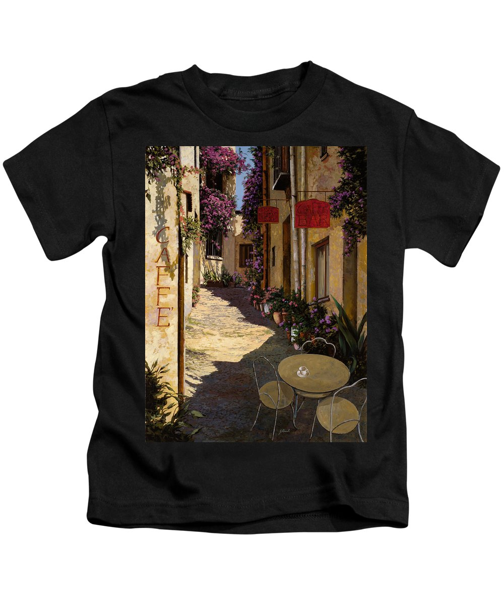 Caffe Kids T-Shirt featuring the painting Cafe Piccolo by Guido Borelli