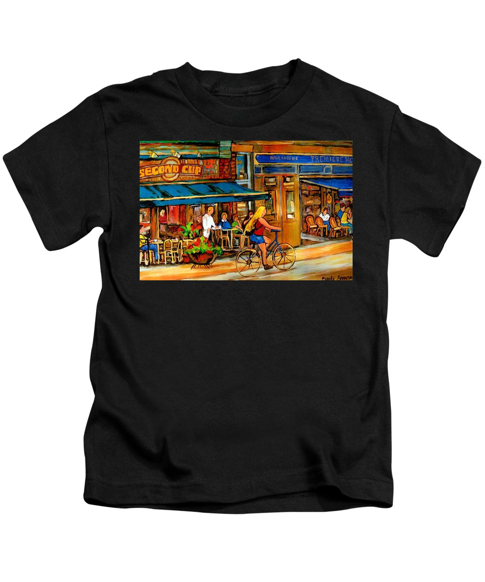 Cafes Kids T-Shirt featuring the painting Cafes With Blue Awnings by Carole Spandau