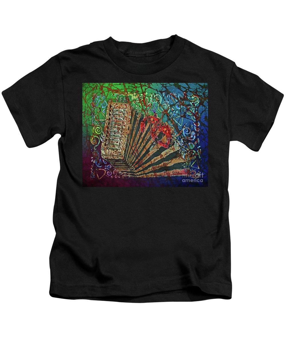 Cajun Kids T-Shirt featuring the painting Cajun Accordian by Sue Duda